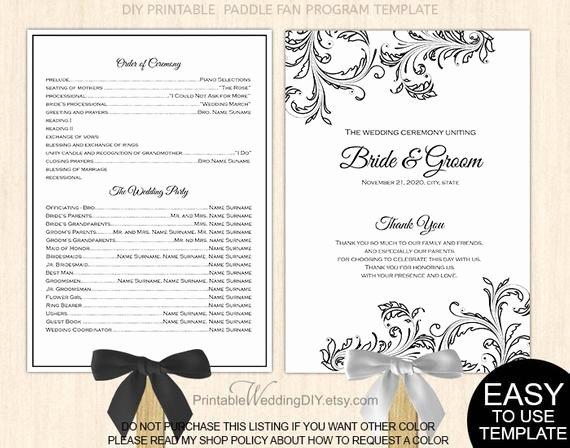 Wedding Program Fans Template Luxury Items Similar to Black Filigree Fan Program Template