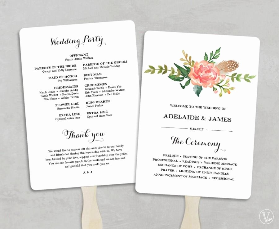 Wedding Program Fans Template New Printable Wedding Program Template Fan Wedding Programs