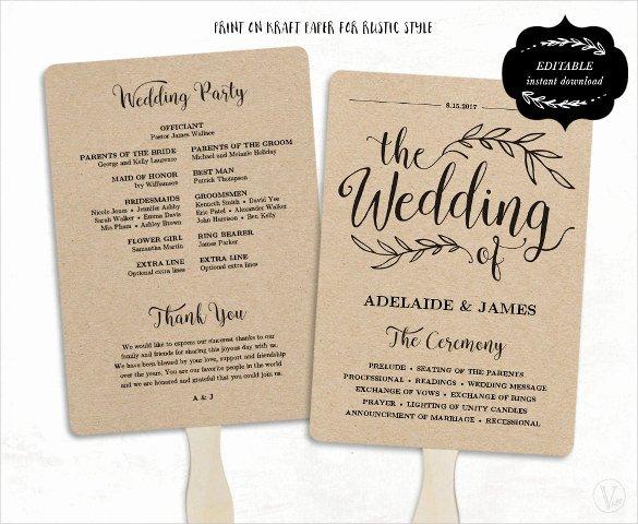 Wedding Program Fans Template Unique Wedding Program Template 41 Free Word Pdf Psd