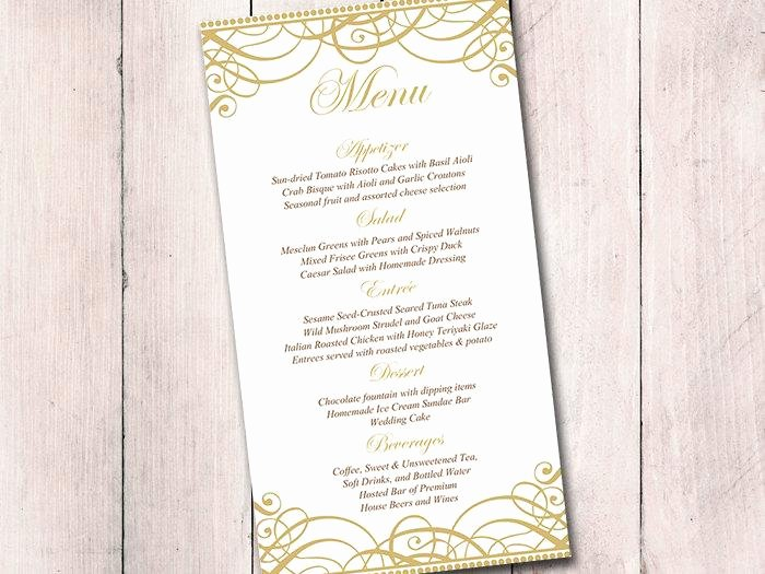 Wedding Reception Menu Template Awesome Gold Wedding Menu Card Template Wedding Reception Menu