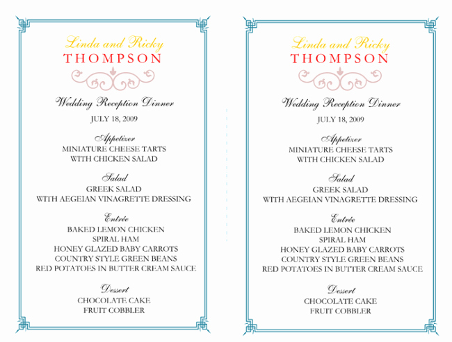 Wedding Reception Menu Template Awesome Wedding Menu Template 5 Free Printable Menu Cards