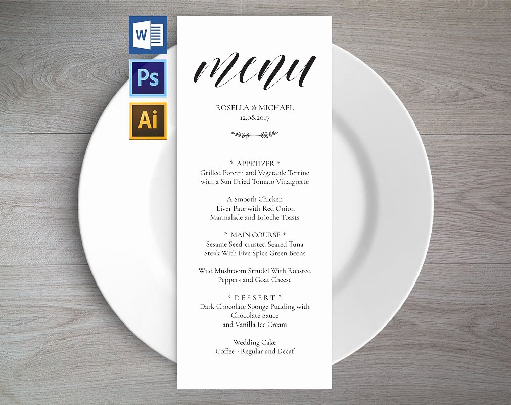 Wedding Reception Menu Template Awesome Wedding Menu Template Wpc2 Invitation Templates