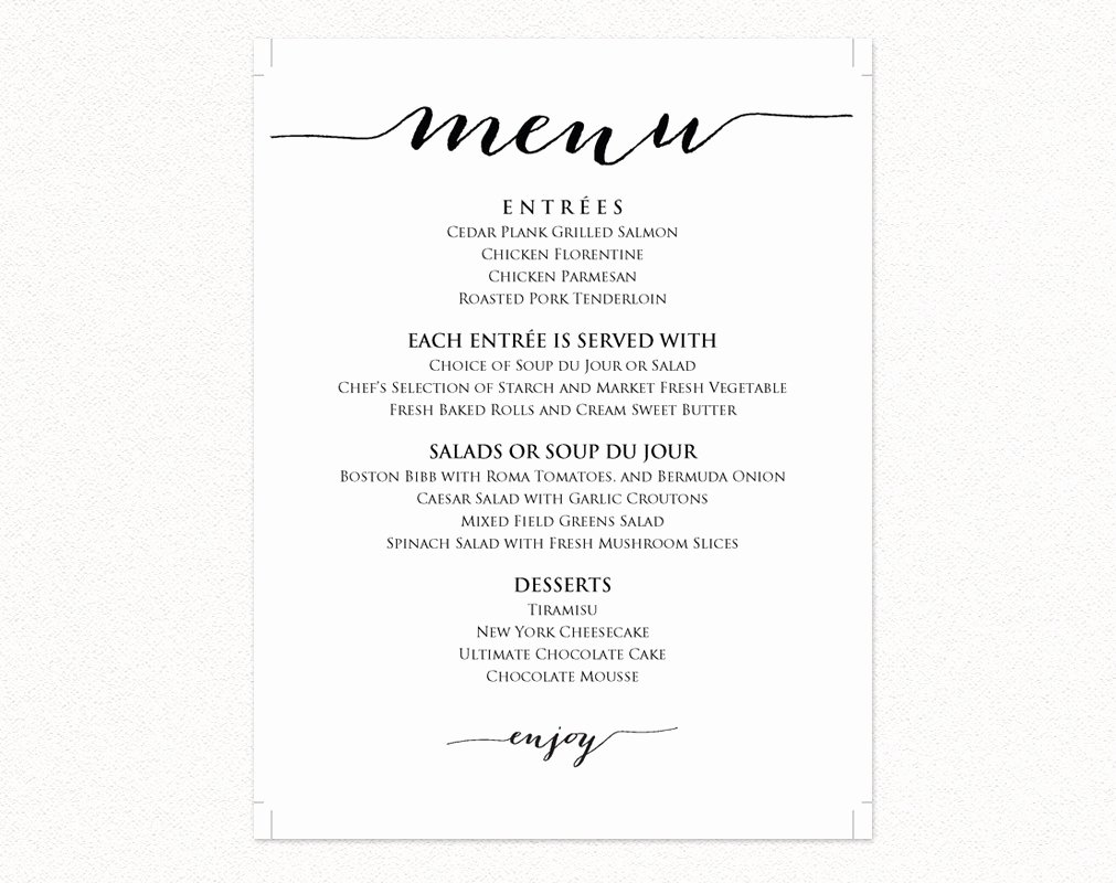Wedding Reception Menu Template Beautiful Wedding Menu Templates · Wedding Templates and Printables