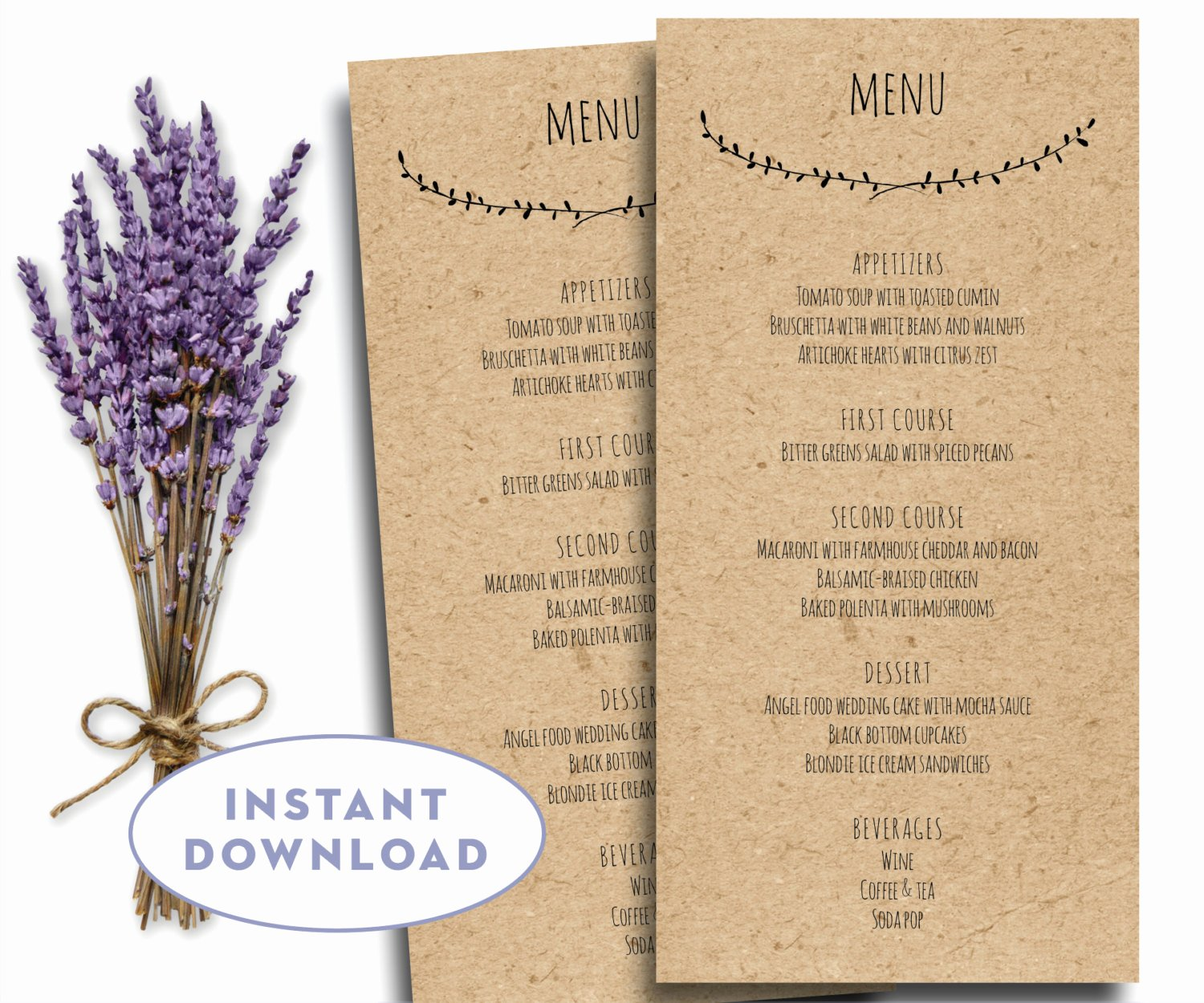 Wedding Reception Menu Template Best Of Printable Wedding Menu Template Kraft Menu Template 4 X 8