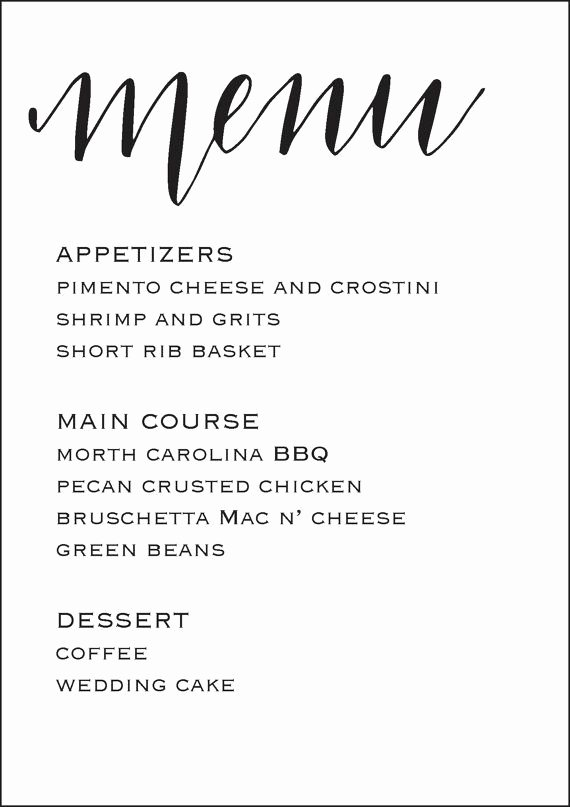 Wedding Reception Menu Template Best Of Wedding Reception Menu 5x7