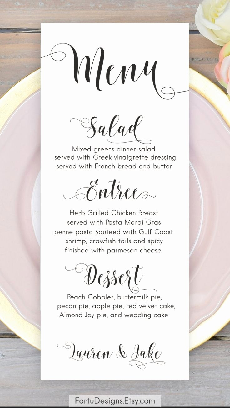 Wedding Reception Menu Template Elegant Calligraphy Menu Wedding Menu Printable Menu Cards Script