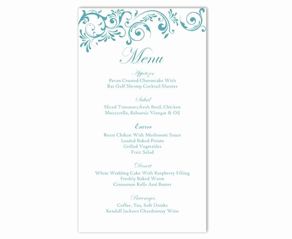 Wedding Reception Menu Template Inspirational Wedding Menu Template Diy Menu Card Template Editable Text