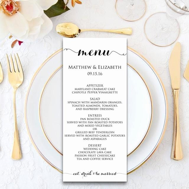 Wedding Reception Menu Template Inspirational Wedding Menu Wedding Menu Template Menu Cards Menu