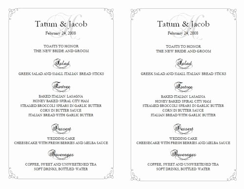 Wedding Reception Menu Template Lovely 6 Best Of Free Printable Wedding Reception