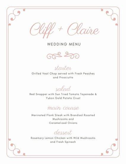 Wedding Reception Menu Template Lovely Customize 273 Wedding Menu Templates Online Canva