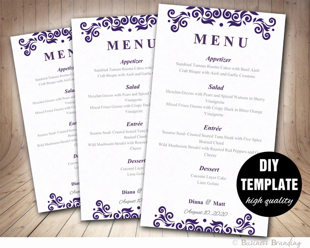 Wedding Reception Menu Template Lovely Purple Menu Card Template Diy Wedding Menu Card 4x7purple