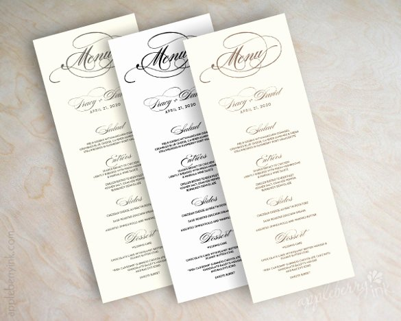 Wedding Reception Menu Template Luxury 37 Wedding Menu Template – Free Sample Example format