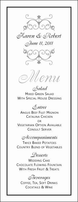Wedding Reception Menu Template Luxury Free Printable Wedding Menus
