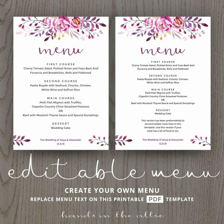 Wedding Reception Menu Template Luxury the 25 Best Wedding Menu Template Ideas On Pinterest