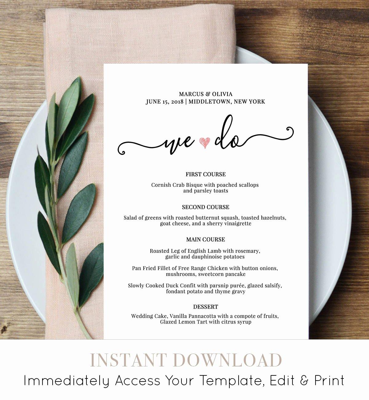 Wedding Reception Menu Template Luxury Wedding Menu Card Template We Do Printable Dinner Menu
