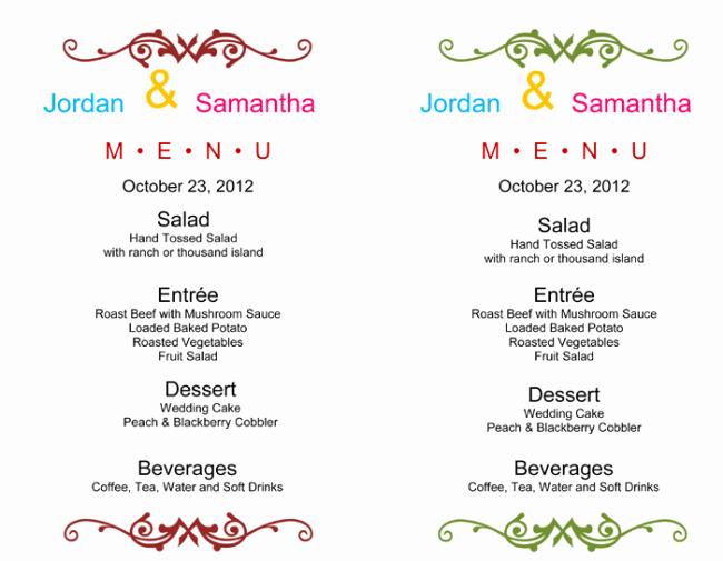 Wedding Reception Menu Template Luxury Wedding Menu Template 5 Free Printable Menu Cards