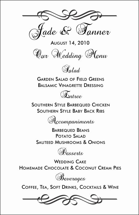 Wedding Reception Menu Template New Wedding Menu Templates