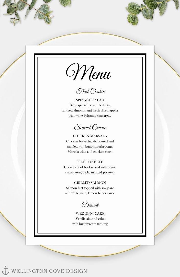 Wedding Reception Menu Template Unique Printable Wedding Menu Template for Microsoft Word