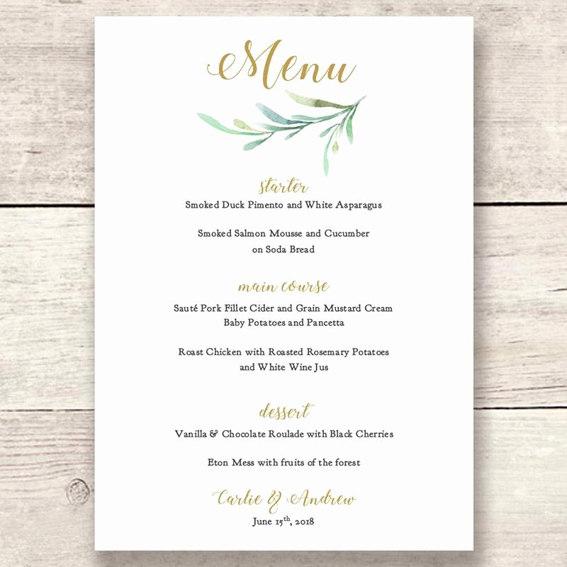 Wedding Reception Menu Template Unique Wedding Menu Printable Template Greenery Wedding Style