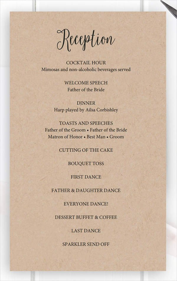 Wedding Reception Program Template Awesome 8 Wedding Party Program Templates Psd Vector Eps Ai