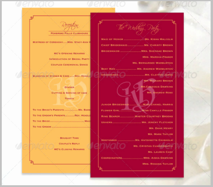 Wedding Reception Program Template Beautiful 14 Wedding Program Templates Psd Ai