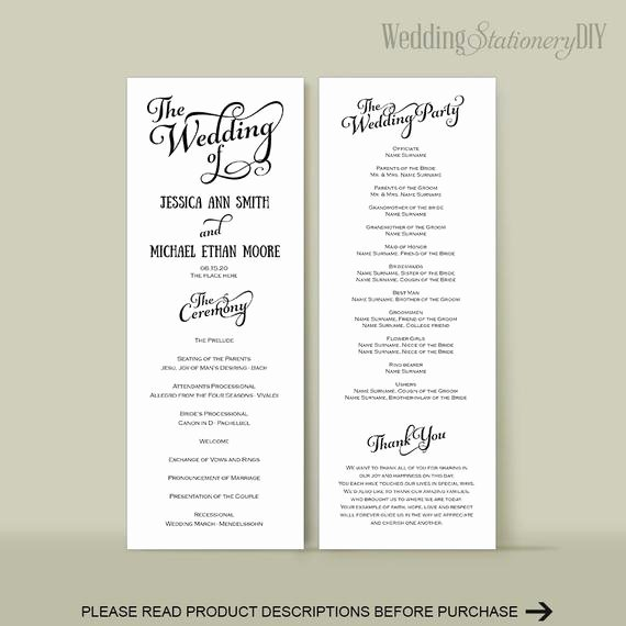 Wedding Reception Program Template Beautiful Wedding Program Diy Wedding Program Templates Reception