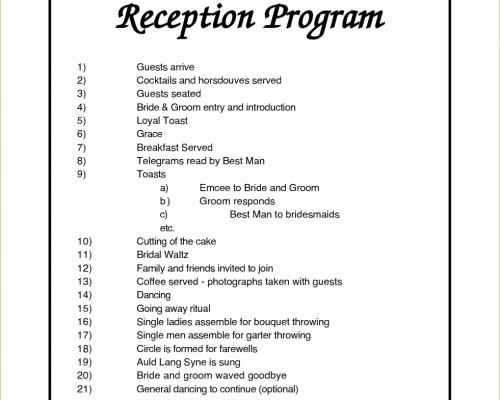 Wedding Reception Program Template Elegant Program Wording Ideas Collections Diagram Sample