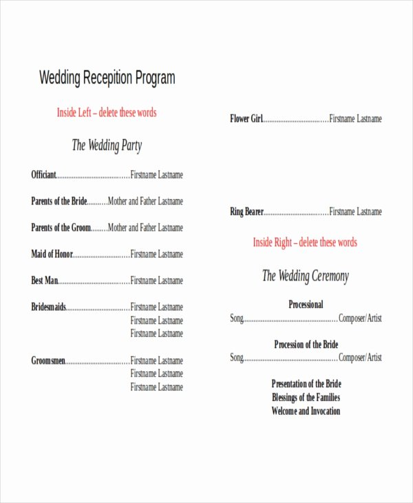 Wedding Reception Program Template Inspirational 10 Wedding Program Templates Free Sample Example