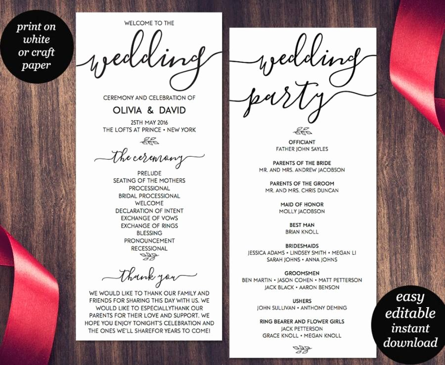 Wedding Reception Program Template Luxury Wedding Program Template Printable Wedding Program