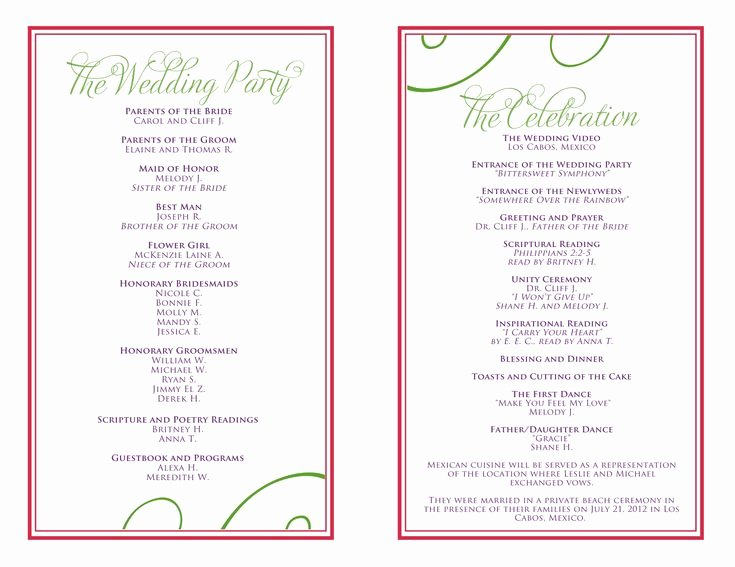 Wedding Reception Program Template New Wedding Itinerary Templates Free