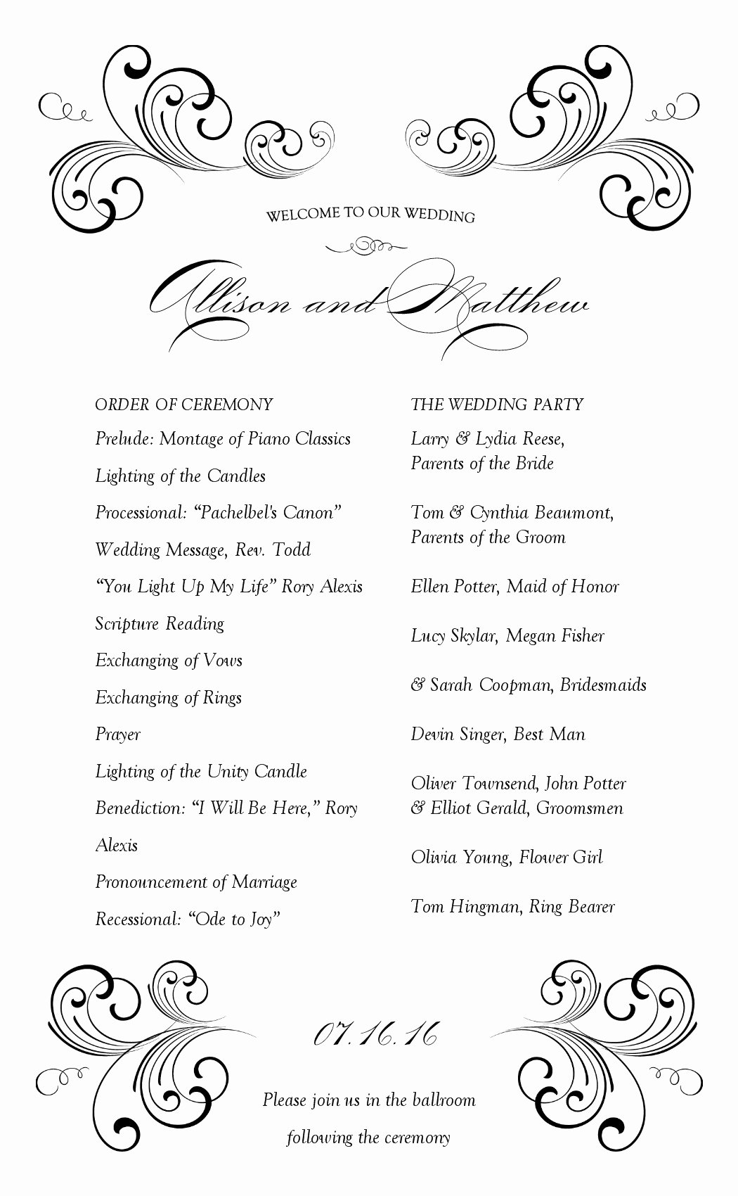 Wedding Reception Program Template Unique Wedding Reception Program Template