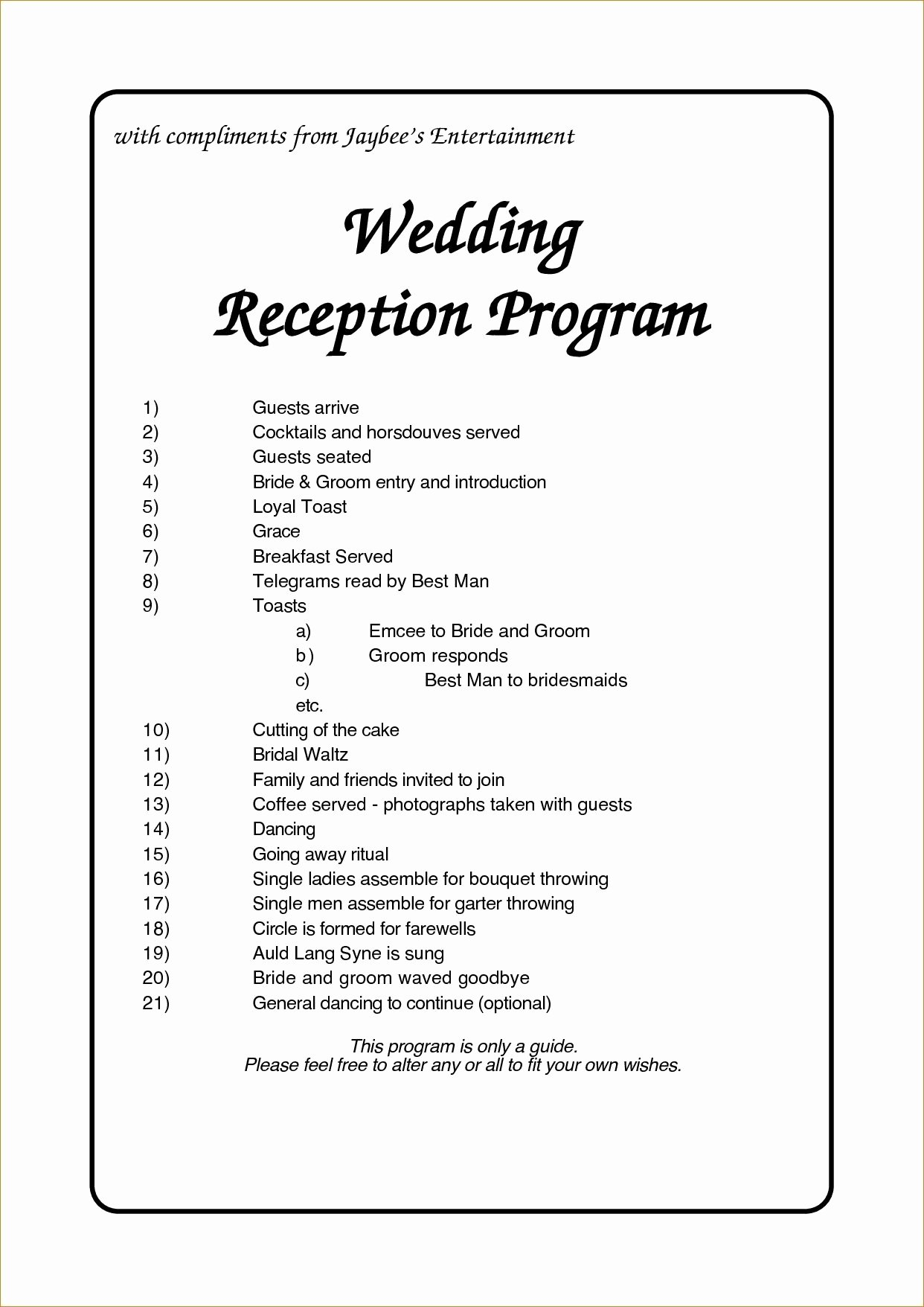 Wedding Reception Programme Template Awesome Wedding Reception Program Template Business Plan for Free