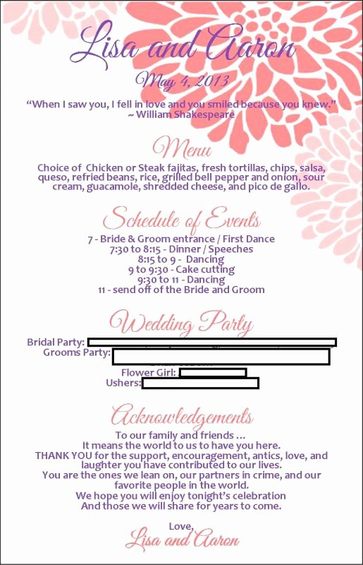 Wedding Reception Programme Template Beautiful Program Menu with Template Available