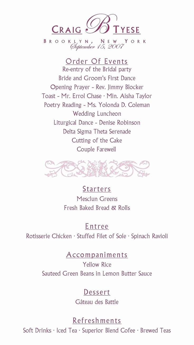 Wedding Reception Programme Template Best Of Best 25 Wedding Program Samples Ideas On Pinterest