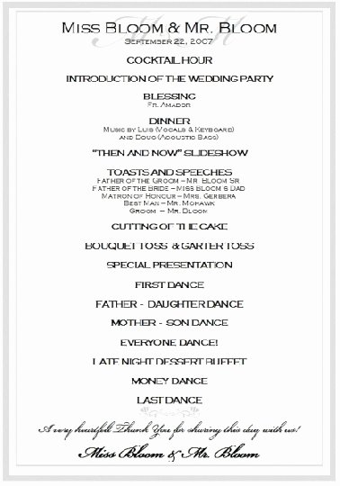 Wedding Reception Programme Template Best Of Sample Wedding Reception Program