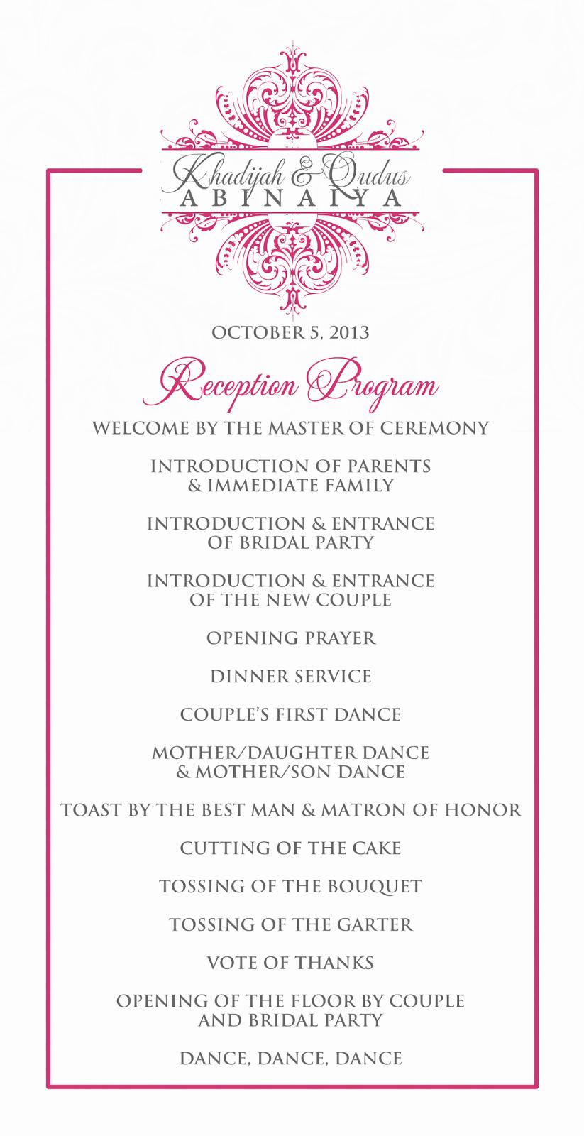 Wedding Reception Programme Template Best Of Wedding Reception Program Outline Agenda