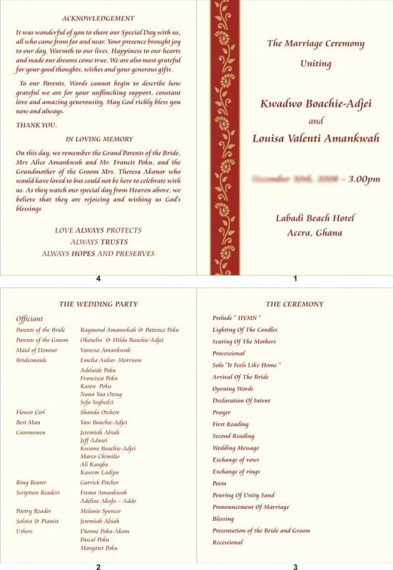 Wedding Reception Programme Template Elegant Wedding Reception Program Template