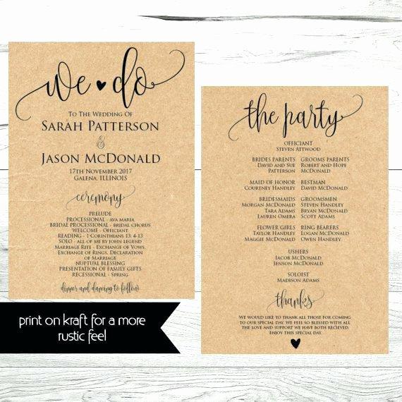 Wedding Reception Programme Template Fresh Wedding Program Fan Template Rustic Ceremony Mason Do It