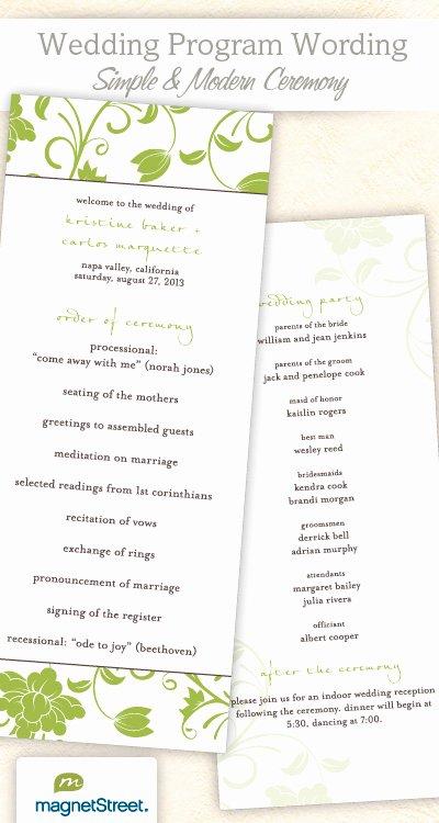 Wedding Reception Programme Template Inspirational Wedding Program Wording & Templateswedding Program Wording
