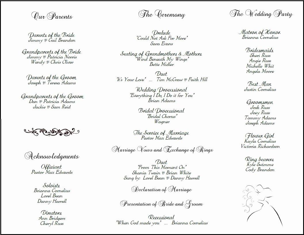 Wedding Reception Programme Template Lovely Wedding Program Template