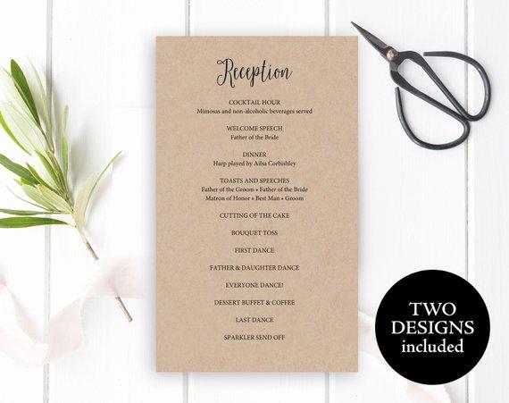 Wedding Reception Programme Template Unique Reception Program Template Reception Program Card