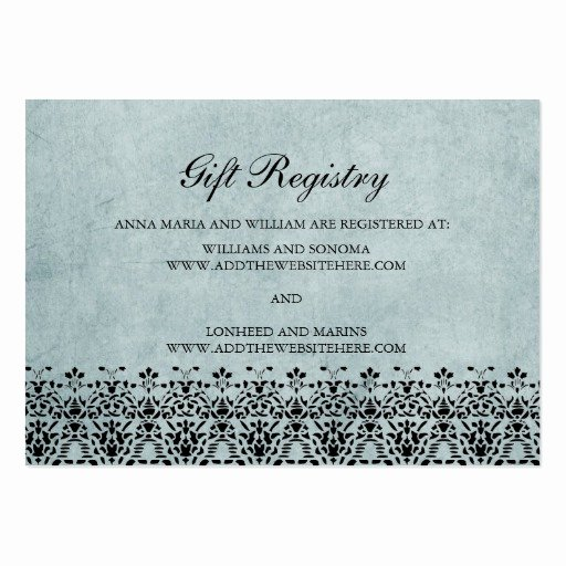 Wedding Registry Card Template Awesome Wedding Gift Registry Cards Light Blue Swirls