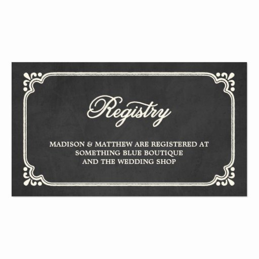 Wedding Registry Card Template Beautiful Chalkboard Union