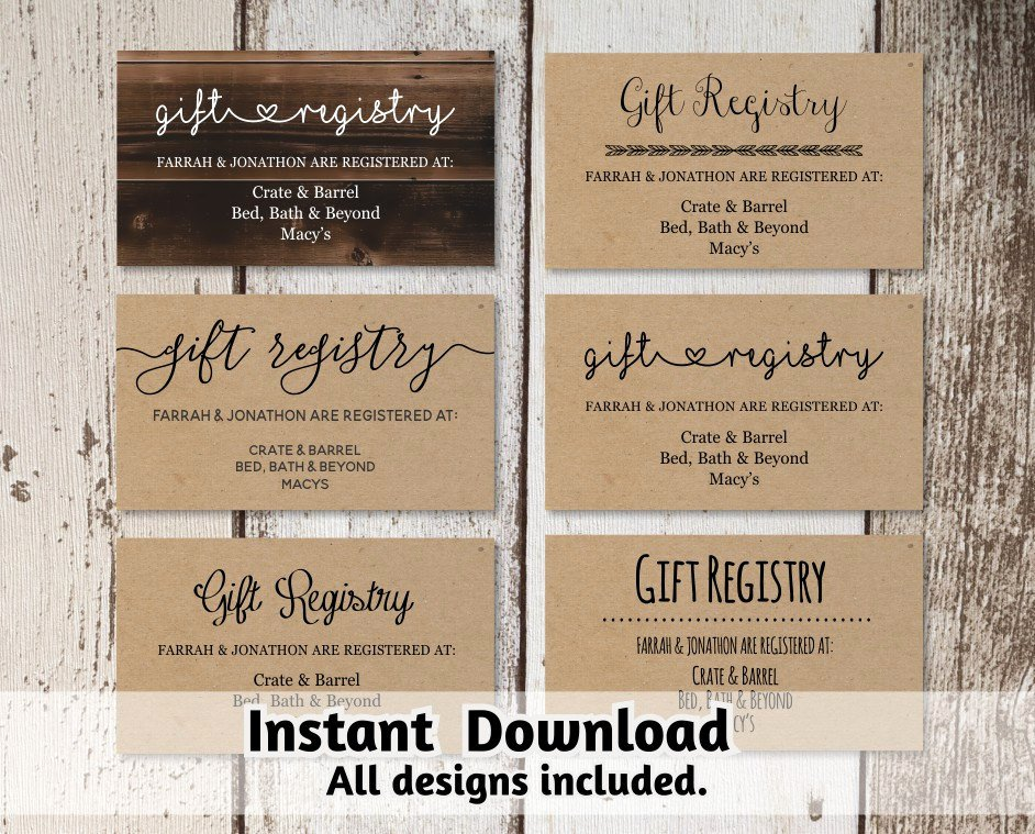 Wedding Registry Card Template Best Of Printable Wedding Registry Card Template Printable Rustic
