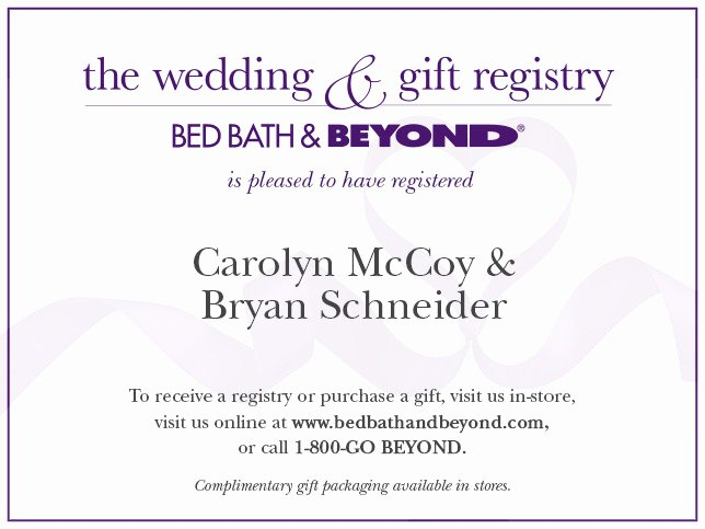 Wedding Registry Card Template Lovely Bed Bath & Beyond