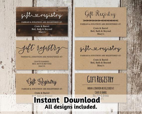 Wedding Registry Card Template Lovely Printable Wedding Registry Card Template Printable Rustic