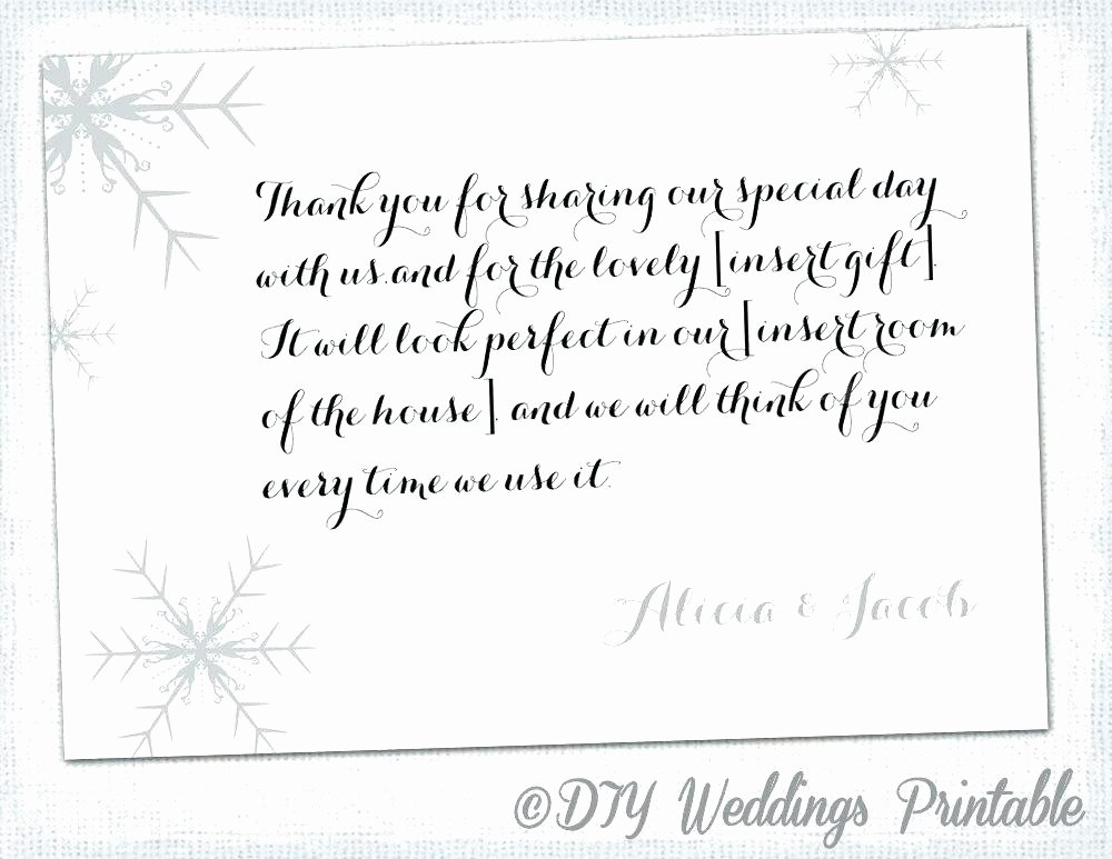 Wedding Registry Card Template New Thank You Note Template Snowflake Card Winter Wedding