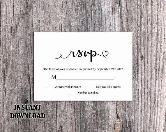 Wedding Rsvp Card Template Inspirational Diy Wedding Rsvp Template Editable Word File Instant