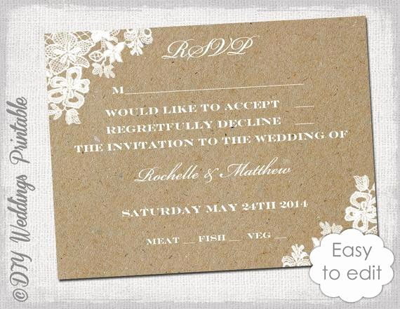 Wedding Rsvp Card Template Inspirational Wedding Rsvp Template Rustic Lace Printable