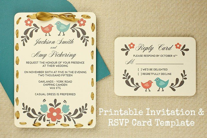Wedding Rsvp Card Template Lovely Diy Tutorial Free Printable Invitation and Rsvp Card
